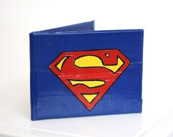 STORE CLOSING!! Dark Blue Superman Duct Tape Wallet - Superhero, DC comics - TapeWorks