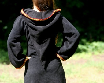 Black Elven tunic with rasta colours trim - Medieval tunic - hyrule - Pixie hoodie - festival tunic - pointy hood - Rasta dress