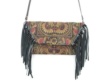 Mocha Tassel Bag Bohemian Style Hmong Fabric Removable Strap (BG4395-MOB)
