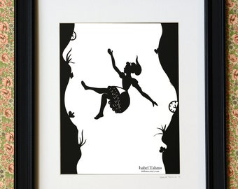 Down the Rabbit Hole - Alice in Wonderland Silhouette PRINT 8x10
