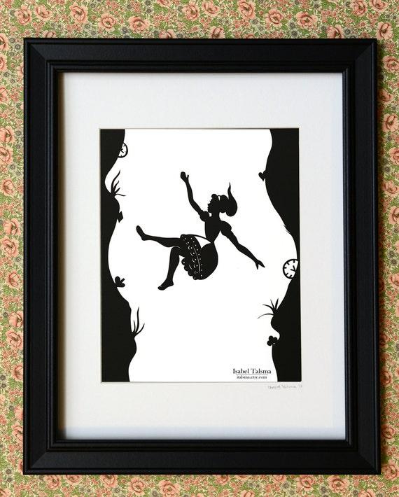 Down the Rabbit Hole - Alice in Wonderland Silhouette PRINT 8x10