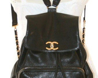 Vintage Caviar Chanel Backpack - Gold Chains and Kisslock CC Logo