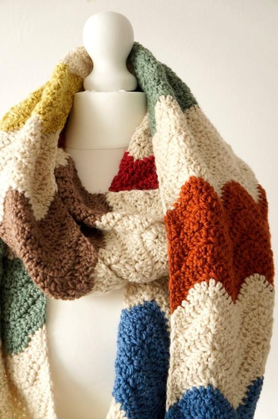 infinity scarf crochet pattern zigzag scarf wrap by ...