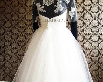 Illusion Tulle Bolero & Lace Applique Bolero Bridal Jacket with Crest by IHeartBride Style Adonis Elini Invisible Tulle Custom Bridal Bolero