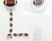 Personalized Name Boys Foot Ball Pacifier Clip Only (PER 35) (MSRP 19.00)