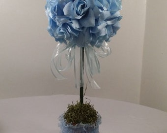 Blue Rose Topiary // Wedding Flowers // Baby Shower // Party Centerpiece