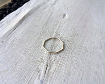 Octagon Thin Hammered Sterling Silver Stacking Ring - custom made to order