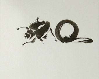 ink art, Japanese art, Title: Daily routine of Kepuri