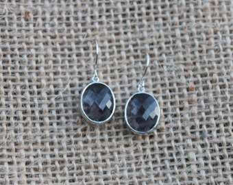 Dark Blue Silver Drop Earrings, Gift Earrings, Dangle Earrings, Silver Earrings, Blue Earrings, Deep Blue Drop Earrings