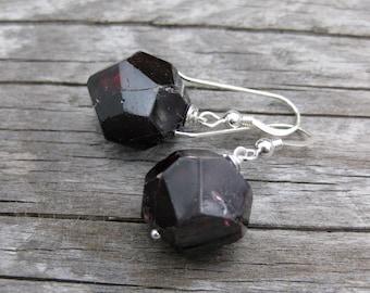 blood red GARNET crystal sterling earrings