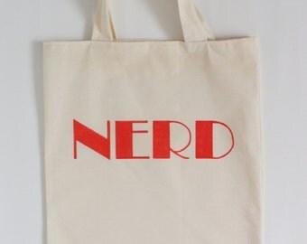 Label tote bag - Nerd - typographic canvas tote