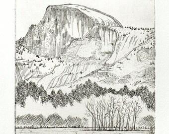 Half Dome Winter - Yosemite Valley, National Park, original copperplate etching, fine art printmaking, Ahwahnee Meadow, soft warm gray tones