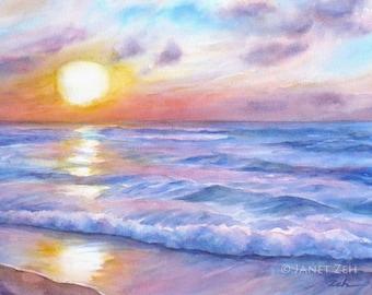 Sunset Beach Print Hawaii Ocean Surf Art Tropical Seascape on Watercolor Paper by Janet Zeh Original Art