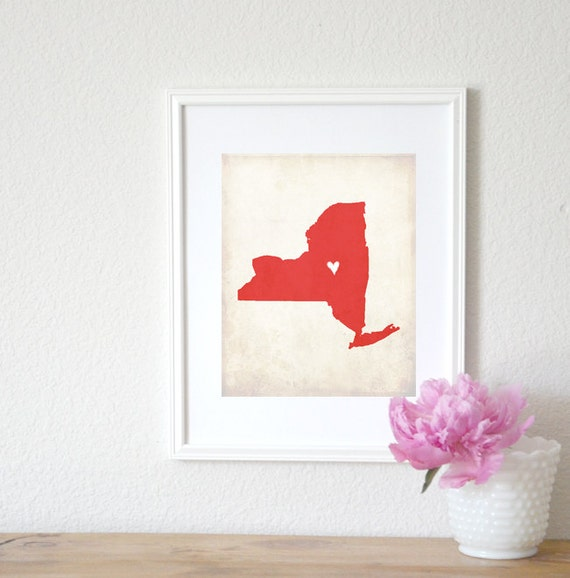 New York Rustic State Map, Personalized New York Art, Wedding Map, Wedding Gift, Anniversary Gift, 8x10 Print.