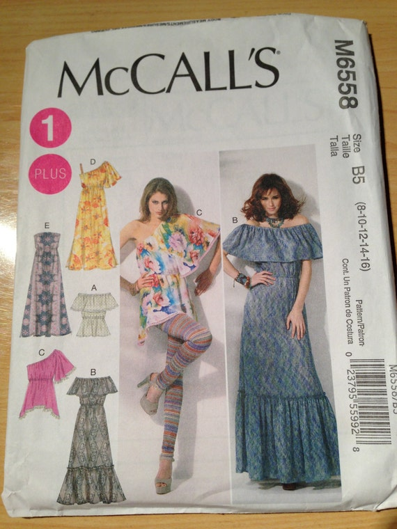 McCalls Sewing Pattern 6558 Misses/Womens Tops and Dresses Size 8-16
