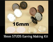 12 ct. 16mm Earring Stud Bezels. Antique Copper and Bronze Only  6 pair- Optional Glass (12) Seals (12 or 24)