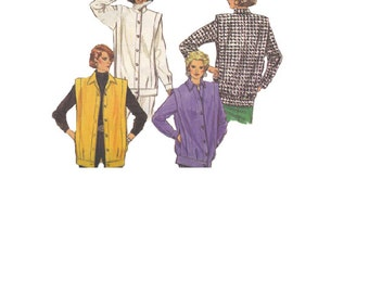 Butterick 1980s New Wave Style Sewing Pattern 4042 Wide Extended Shoulders Jacket Michael Jackson Style Coat Standing Collar Uncut Bust 38