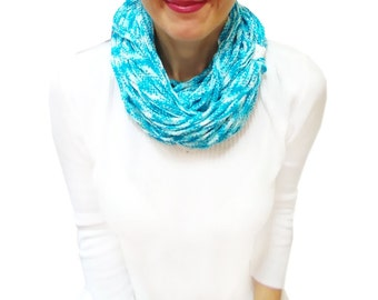 Free Shipping, Chunky Scarf, Scarf, Infinity Eternity Scarf, Chunky Cowl, Blue, Turquoise, Noodle Scarves, Cotton Fashion, Spring Scarf
