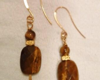Beautiful Gold Plate and Tigers Eye Drop Dangle Earrings Exotic