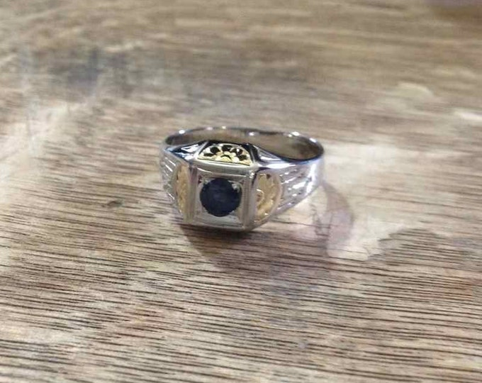 White Gold Blue Sapphire Ring with Yellow Gold Accents in 18 Karat