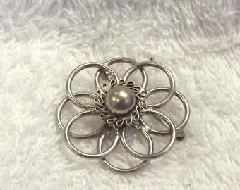 Sterling Silver Flower Pin - Vintage Modernistic Jewelry - Simple Silver Flower Brooch