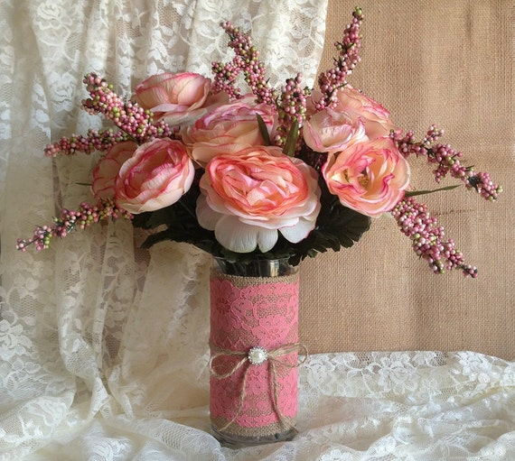 Rustic Vintage Coral Wedding Inspiration: Rustic Coral Pink Lace And Burlap Covered Vase Wedding