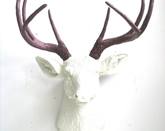 WHITE-MAUVE Faux Taxidermy Deer Head wall mount in white with mauve antlers:  Deerman the Deerhead modern home decor / farm house / woodland