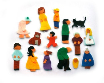 Felt Board Family - Flannel Board People - Montessori Toys - Preschool Toys - Homeschool - Doll House - Quiet Book