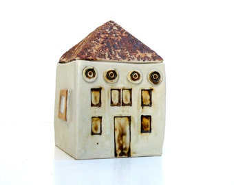 Ceramic Sculpture,  Neutral Decor ,  Gold,Cream And Brown House, Small Building , Architecture