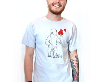 Polar Bear Shirt Men's or Womens Hand Screen Printed Soft Thin and Fitted