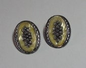 1950s Marcasite Faux Mother of Pearl Clip On Earrings