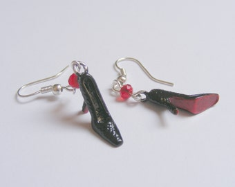 Red Soled Shoes Miniature Earrings - Miniature Food Jewelry,Shoe Earrings,Mini Food Jewelry,Miniature Earrings