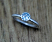 Sky Blue Topaz Silver Ring, Stacking Ring August Birthstone, Gemstone Ring, Eco Friendly, Ethical, Ready to Ship UK Size L