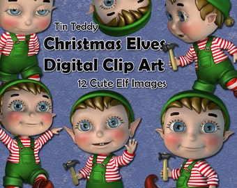 Christmas Elves clip art - 12 cute digital clip art images of Santa's Little Helpers - Ideal for Christmas cards etc