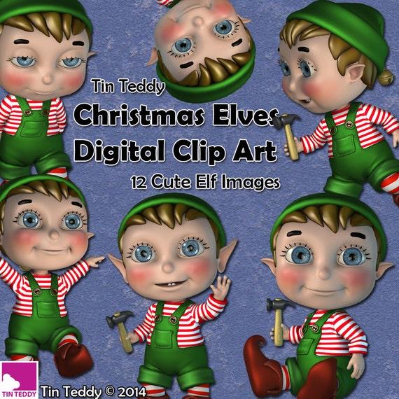 Tin Teddy Christmas Elves Clip Art
