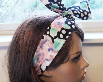 FLORAL DOLLY BOW Printed wire tie black floral headband hair wrap hair scarf black floral print eco friendly vintage fabric womens headband