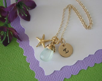 Bridesmaid Gift Personalized Starfish, Bridesmaid Necklace, Beach Wedding, Gold, Gemstone, Initial jewelry, Thank you Card
