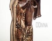 Brown Dress , silk collar , silk  sleeves,stretchy