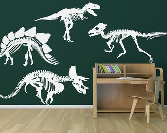 Dinosaur Skeletons Your Choice of One Removable Vinyl Wall Art, stegasaurus wall art raptor childrens room trex decal triceratops sticker