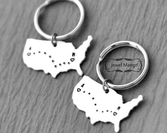 2 Long Distance Love map, Long Distance Relationship United States Keychain, Map Jewelry, USA, Personalized, custom gifts, US map,states