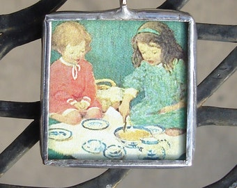 Tea Time Friends Soldered Glass Art Pendant/Charm