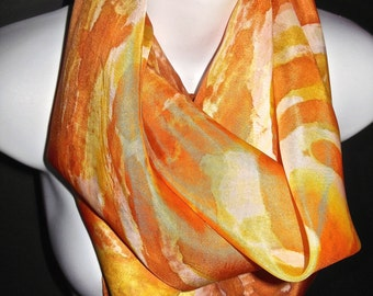 """Creamy Orange  SILK SCARF. Hand Painted Silk Scarf by NYC  artist Joan Reese/ 30""""x30"""" /One of a kind/100% Silk/""""One of a kind"""""""
