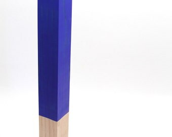 Wood Sculpture Abstract Art Yves Klein Blue and Gold Contemporary Totem Art