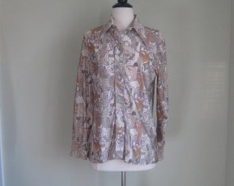 Vintage Polyester Face Shirt// Lapel