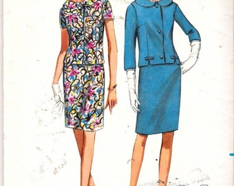 Vintage 1967 Butterick 4315 Two Piece Dress Sewing Pattern Size 12 1/2 Bust 33""