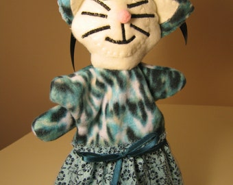 Aqua cat puppet with calico flowered skirt