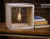 Shadow Box Edison Lamp - Driftwood Stain