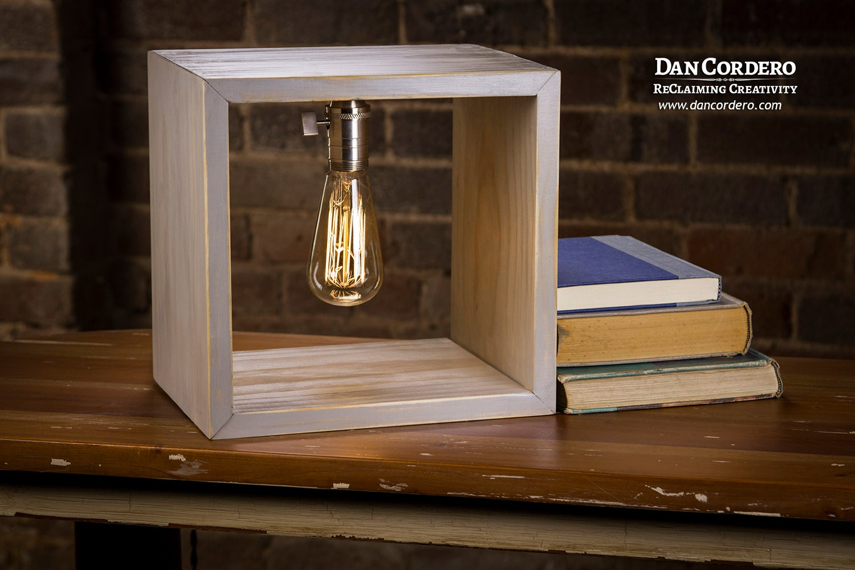 Shadow Box Edison Lamp Driftwood Stain