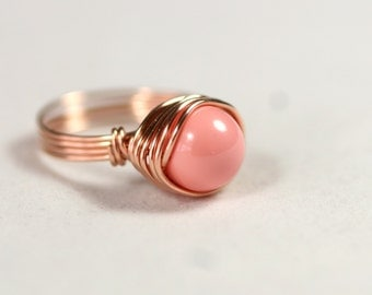 Rose Gold Pink Coral Ring Wire Wrapped Jewelry Handmade Rose Gold Ring Rose Gold Jewelry Pink Ring Pink Gold Ring Pink Gold Jewelry