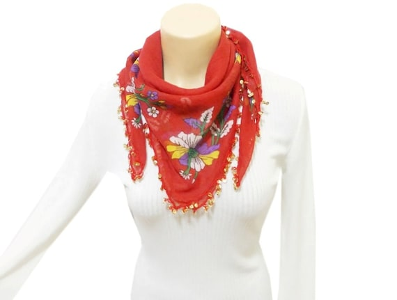 Square Red Scarf with oya, Shawl, Embellished with crochet flower and sequins, Golden sequins, Romantic, Viscose fabric shawl